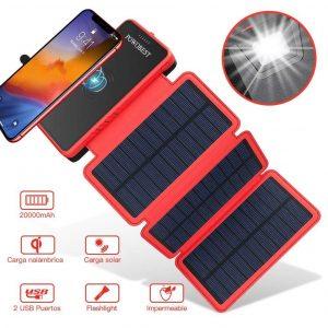 Cargador solar para móviles con carga inalámbrica