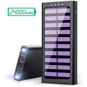 Cargador solar para móviles con cuatro entradas
