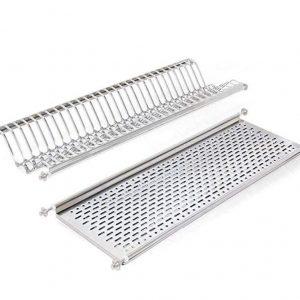 Escurreplatos de acero inoxidable de dos niveles de 80 centímetros